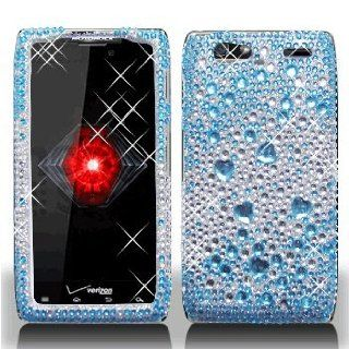 Motorola Droid RAZR Maxx XT916 XT 916 Cell Phone Full Crystals Diamonds Bling Protective Case Cover Silver and Blue 2 tone Mix Love Hearts Gemstones Design Cell Phones & Accessories