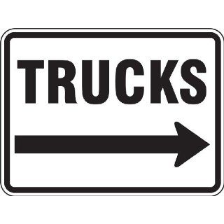 "Accuform Signs FRR280RA Engineer Grade Reflective Aluminum Facility Traffic Sign, Legend ""TRUCKS"" with Right Arrow, 24"" Width x 18"" Length x 0.080"" Thickness, Black on White"