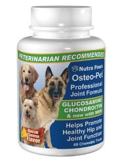 Osteo Pet Glucosamine Chondroitin for Dogs 60 Bacon & Cheese Flavored Treats  Pet Bone And Joint Supplements