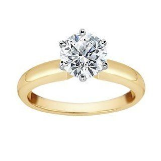 0.55CT F G color SI2 Clarity Diamond Engagement Ring 14KT yellow Gold Setting Jewelry