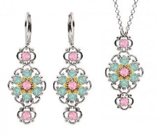 Lucia Costin Silver, Light Pink, Mint Blue Crystal Jewelry Set Jewelry