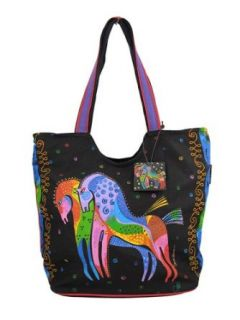 Laurel Burch Rainbow Horses Scoop Tote Bag Clothing