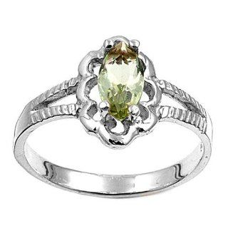 Sterling Silver Small Woman's Yellow Green Colored CZ Ring Baby Comfort Fit 925 New Band 11mm Size 1 Jewelry
