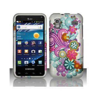 Purple Blue Flower Hard Cover Case for Samsung Captivate Glide SGH I927 Cell Phones & Accessories