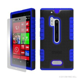 MINITURTLE, High Impact Heavy Duty Duo Shield Protective Hybrid Hard Phone Case Cover and Screen Protector Film for Windows Phone 8 Smartphone Nokia Lumia 928 /Verizon (Black / Blue) Cell Phones & Accessories