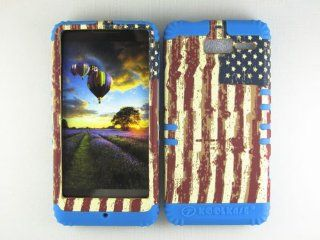 For Motorola Droid Razr M Xt907 Usa Flag Heavy Duty Case + Light Blue Rubber Skin Accessories Cell Phones & Accessories