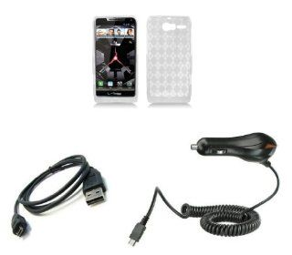 Motorola DROID RAZR M XT907 (Verizon) Premium Combo Pack   Clear Argyle TPU Gel Case + ATOM LED Keychain Light + Micro USB Cable + Car Charger Cell Phones & Accessories