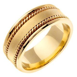 14K Gold Wide Handmade Yellow Wedding Ring (8mm) Jewelry