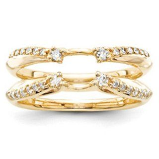 14k Yellow Gold Diamond Ring Guard Jewelry