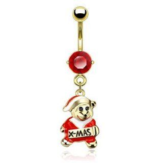 Gold Plated Belly Button Ring With Dangling Christmas Teddy Bear Jewelry