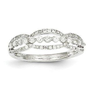 14k White Gold Diamond Ring. Carat Wt  0.53ct. Metal Wt  2.02g Jewelry