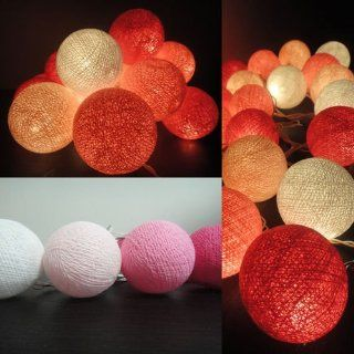 20 Mix Magenta Tone Handmade Cotton Balls Fairy String Lights Wedding Homedecor From Thailand