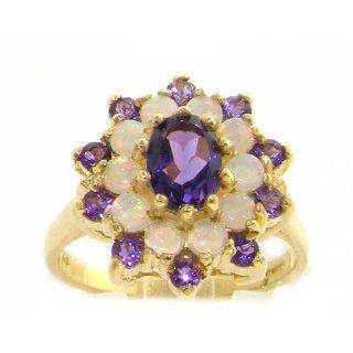Fabulous Solid 14K Yellow Gold Natural Amethyst & Fiery Opal 3 Tier Large Cluster Ring   Finger Sizes 5 to 12 Available   Perfect Gift for Birthday, Christmas, Valentines Day, Mothers Day, Mom, Mother, Grandmother, Daughter, Graduation, Bridesmaid. Je