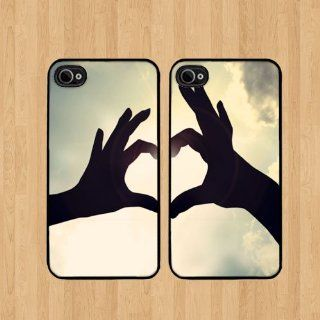Sky Hands Best Friends For iPhone 4 Case Soft Rubber   Set of Two Cases (Black or White ) SHIP FROM CA Cell Phones & Accessories