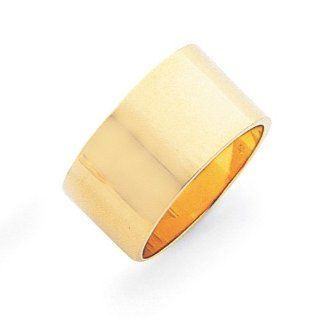 14k Yellow Gold 12mm Flat Wedding Band Jewelry