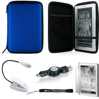 Blue Slim Stylish Hard Cover Nylon Protective Carrying Case Folio for Sony PRS 950 Electronic Reader eReader Device ( PRS 950 PRS950 )(Compatible with all colors) + Indlues a 4 Inch Determination Hand Strap + Includes a Anti Glare Screen Protector + Includ