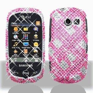 Hot Pink Brown Plaid Bling Gem Jeweled Crystal Cover Case for Samsung Flight II 2 SGH A927 Cell Phones & Accessories