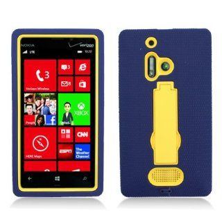 For Nokia Lumia 928 (Verizon) Layer Case, 3 in 1 w/Black Stand Navy Blue Skin+Yellow Cover Cell Phones & Accessories