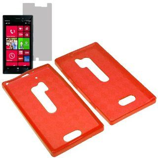 HR TPU Sleeve Gel Cover Skin Case for Verizon Nokia Lumia 928 + Fitted Screen Protector Red Checker Cell Phones & Accessories