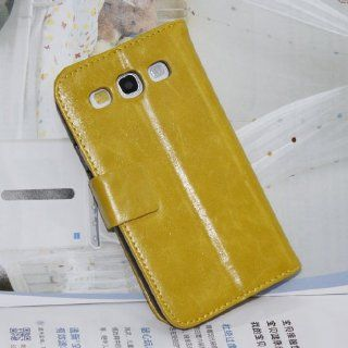 Matek(TM) Deluxe Yellow Leather Card Wallet Case Stand for Samsung Galaxy S3 SIII i9300 Cell Phones & Accessories