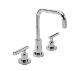 Newport Brass 1400L/52 East Square Double Handle Widespread Lavatory Faucet with Metal Lever Handles (L, Matte White   Touch On Bathroom Sink Faucets