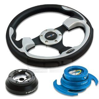 "NRG Innovations 12.5"" 320mm Black Leather Silver Trim Racing Steering Wheel Combo with 6 Hole Short Hub Adapter with Gen 3.0 with Handle New Blue Quick Release Kit SRK 140H Automotive"
