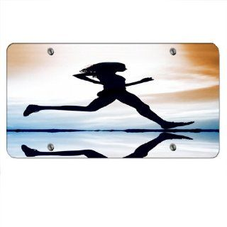 Running Woman Silhoutte   Car Tag License Plate Sports & Outdoors