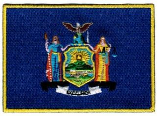 New York State Flag Embroidered Patch Iron On NY Emblem Clothing