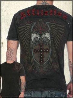 Affliction Shielded Eagle Studded Short Sleeve Tee Shirt in Black Lava Wash   UP TO XXXL / 3XL at  Men�s Clothing store