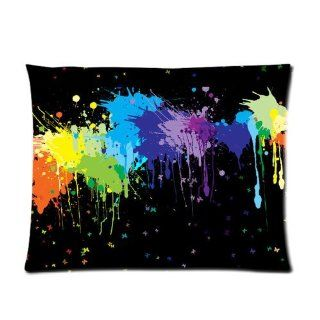 Colorful Neon Paint Splatters on Black Custom Pillowcase Standard Size 20x26 CP 964