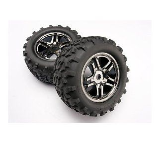 Traxxas 4983A Black Chrome Wheels with Geo Tire 17mm, Maxx and Revo, 2 Piece Toys & Games