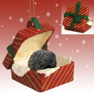 Porcupine Red Gift Box Christmas Ornament
