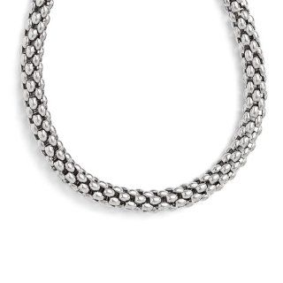 Leslie's Sterling Silver Polished Mesh Necklace Jewelry