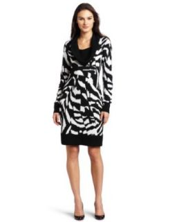Calvin Klein Women's Cowl Neck Sweater Dress, Black/Winter White, Large