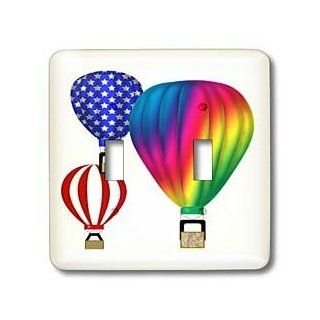 3dRose lsp_27422_2 Graphic Design Hot Air Balloons with Transparent Background Double Toggle Switch   Switch Plates