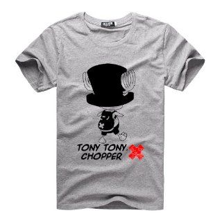 One Piece Tony Tony Chopper Anime Short Sleeve Summer Cotton T Shirts Funny for Men DIY Clothes   Grey Sports & Outdoors