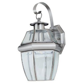 Sea Gull Lighting 8067 965 Single Light Outdoor Lancaster Wall Lantern, Clear Beveled Glass and Antique Brushed Nickel   Wall Porch Lights