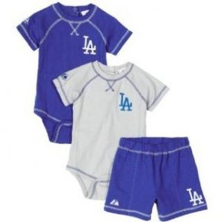 MLB Infant/Toddler Boys' Los Angeles Dodgers Three Piece Creeper Set (Royal, 6/9)  Infant And Toddler Sports Fan Apparel  Sports & Outdoors