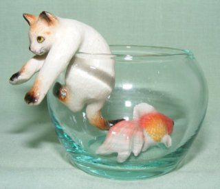 CAT SIAMESE climbs out of Fish Bowl w Goldfish New 3 Seperate Figurines MINIATURE Porcelain KLIMA L992C   Collectible Figurines