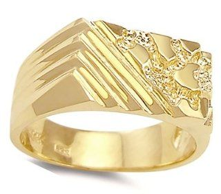 Men's Nugget Ring 14k Yellow Gold Striped Band Jewel Tie Jewelry