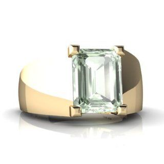 Genuine Green Amethyst 14kt Yellow Gold mens Ring Jewelry