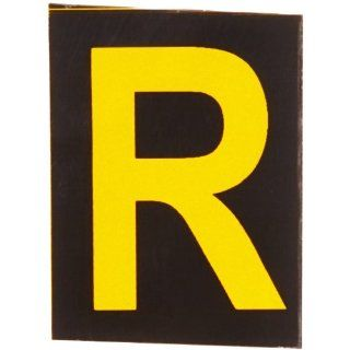 "Brady 5890 R Bradylite 1 7/8"" Height, 1 3/8 Width, B 997 Engineering Grade Bradylite Reflective Sheeting, Yellow On Black Reflective Letter, Legend ""R"" (Pack Of 25) Industrial Warning Signs"