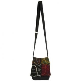 Earth Divas CFB 001 Cotton Young and Fun Design Little Passport Women's Handbag with Adjustable Strap, Black Clothing