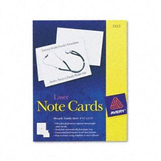 "Avery Laser Note Card   4.25"" x 5.5""   60 x Card, 60 x Envelope  Business Card Stock"