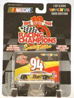 1999   Racing Champions 10th Anniversary Special Edition   NASCAR   Bill Elliott #94   Ford Taurus   McDonald's Drive Thru Racing   1 of 9,999   164 Scale Silver Chrome Die Cast   Card & Stand   MOC   Limited Edition   Collectible Toys & Game