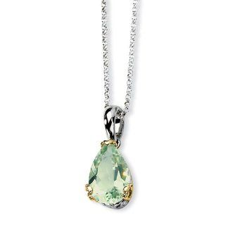 Sterling Silver & 14k Green Amethyst Necklace, Best Quality Free Gift Box Satisfaction Guaranteed Chain Necklaces Jewelry