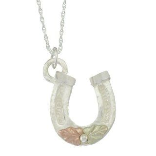 10k Black Hills Gold on Sterling Silver with 12k Gold Leaves Horse Shoe Pendant Necklace Women's Jewelry FREE STERLING SILVER CHAIN INCLUDED Jewelry