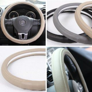 "Circle Cool 58007 Beige Leather Steering Wheel Cover 14.25"" to 15"" Medium Size"