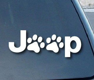 "Jeep Wrangler Cat Dog Paw Print Car Window Vinyl Decal Sticker 5"" Wide (Color White) Automotive"