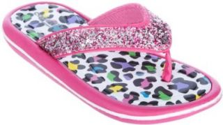 Capelli New York Leopard Print With Glitter Girls Flip Flops Pink Combo 10/11 Shoes